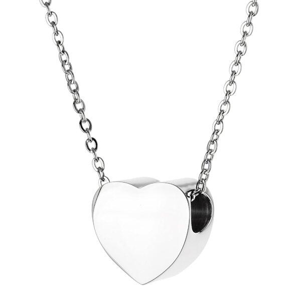 Asche Anhänger Herz Farbe Silber mit Wunsch Gravur