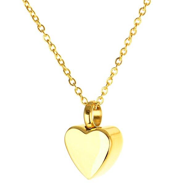 Asche Anhänger Herz Farbe Gold mit Wunsch Gravur