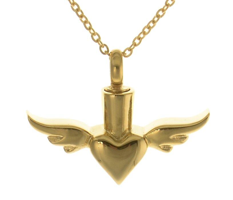 Farbe Aus Was: Gedenkanhänger Herz Mit Flügeln In Der Farbe Gold Aus