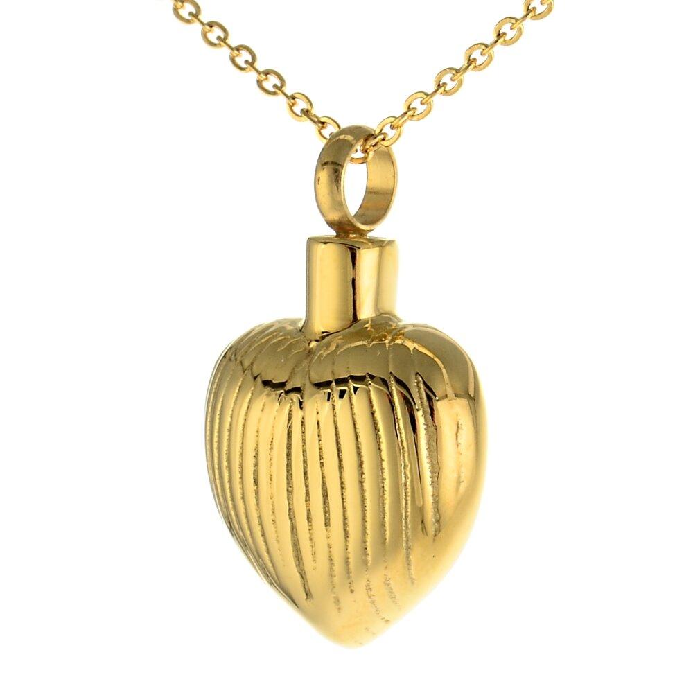 Andenken Anhänger Herz Farbe Gold poliert aus Edelstahl
